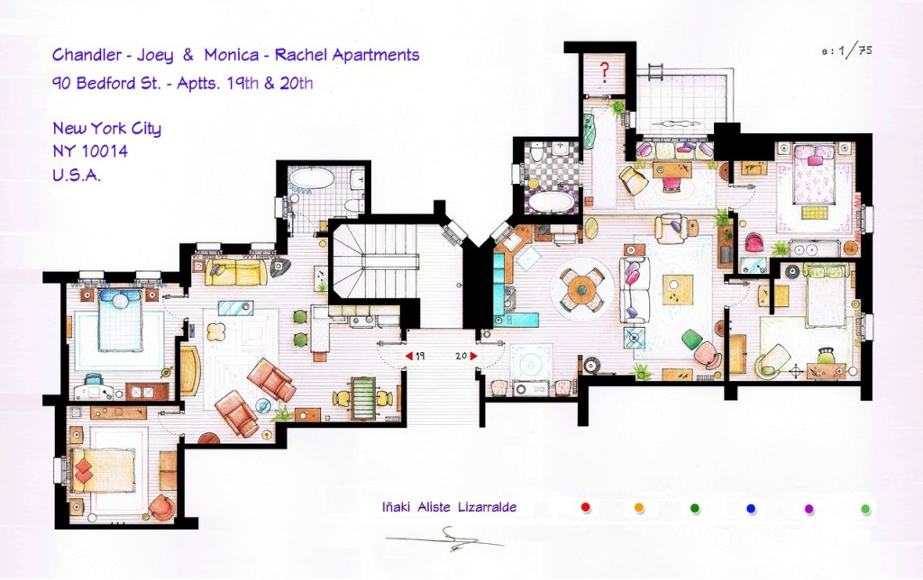 """Die Wohnungen von Monica und Rachel sowie Chandler und Joey aus """"Friends""""."""