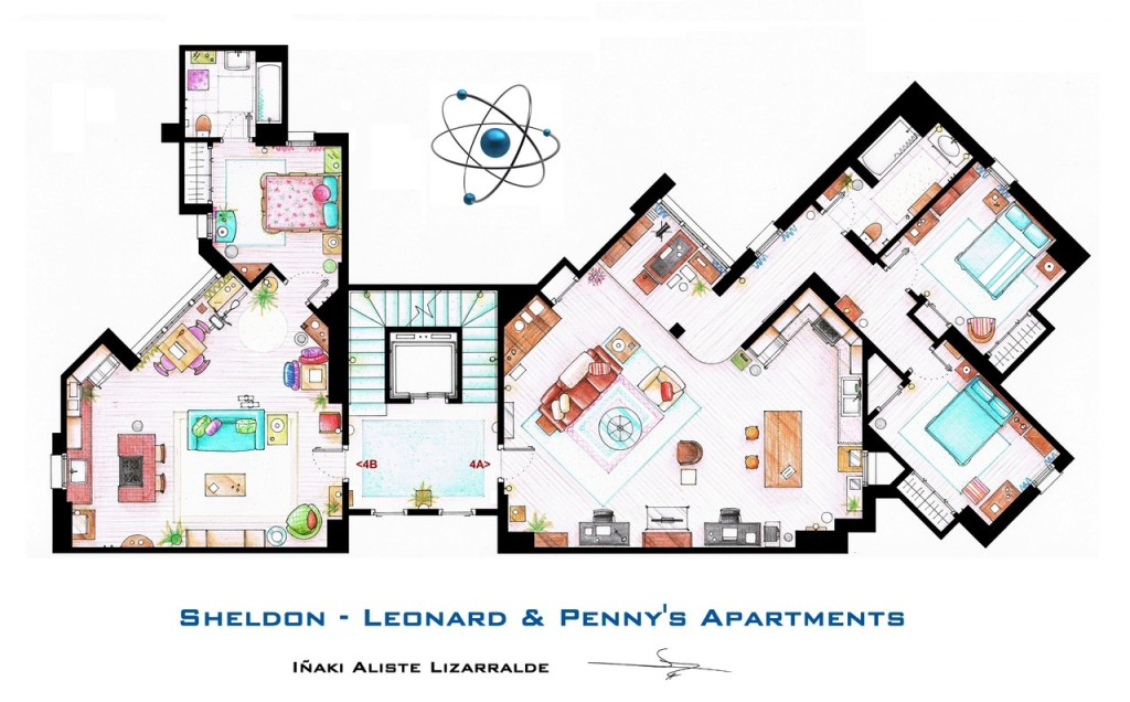 "Das Appartement von Sheldon, Leonard und Penny aus ""The Big Bang Theory""."
